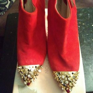 Red & Gold Spike Booties